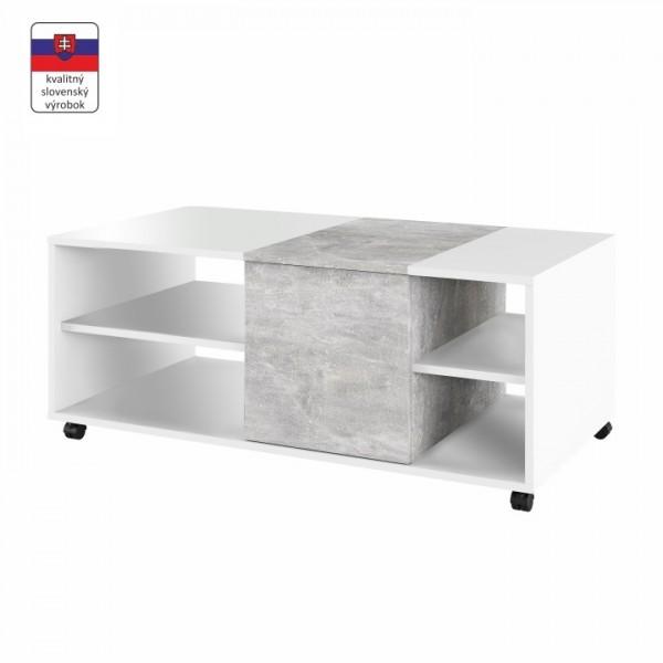 Konferenčný stolík, biely/betón, DELIMARO