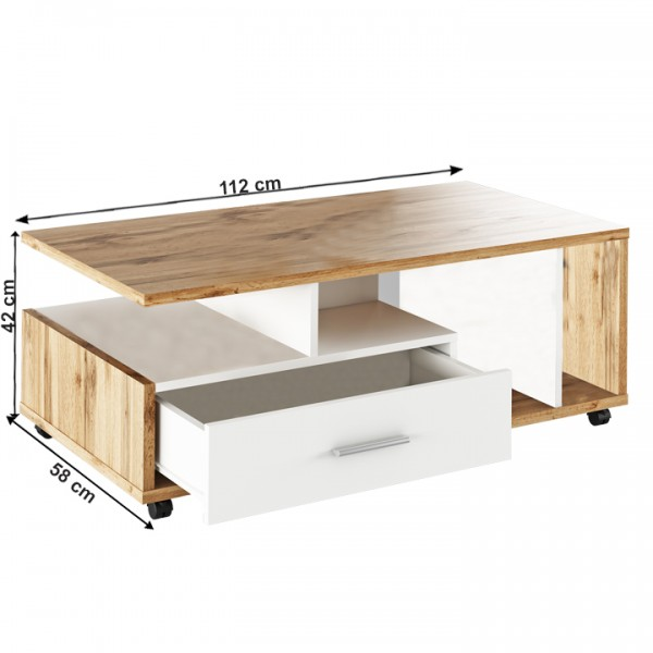 Konferenčný stolík, biela/dub wotan, DECHEN