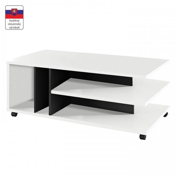 TEMPO KONDELA Konferenčný stolík, biela/čierna, DASTI