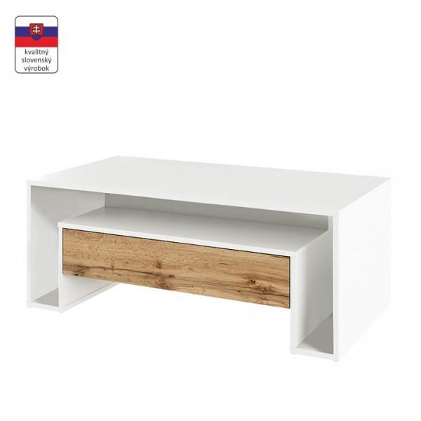 TEMPO KONDELA Konferenčný stolík, biela/dub wotan, DAWSON