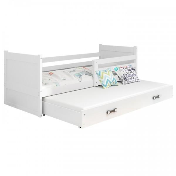 TEMPO KONDELA Drevená posteľ s prístelkou, biela, KORI 2 NEW