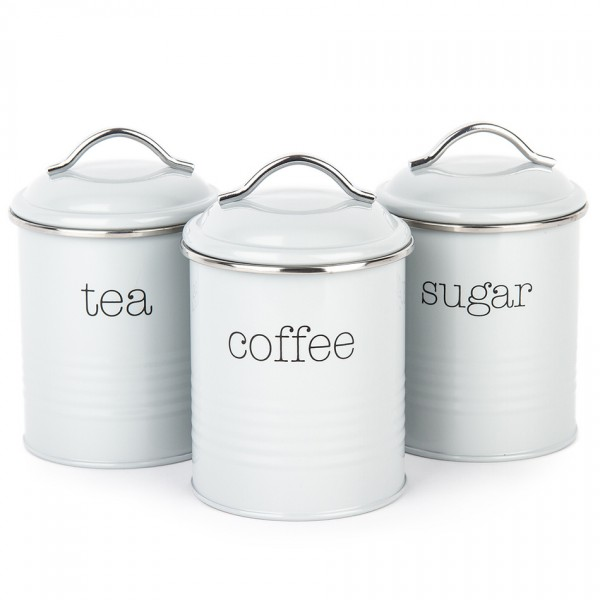 Koopman Sada dóz na kávu, čaj a cukor, sivá