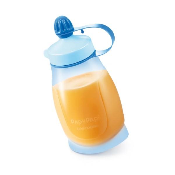 TESCOMA pružná fľaša PAPU PAPI 200 ml, s lyžičkou, modrá