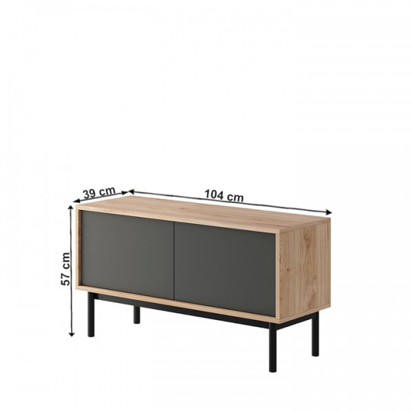 TEMPO KONDELA RTV stolík, dub jaskson hickory/grafit, BERGEN BRTV104