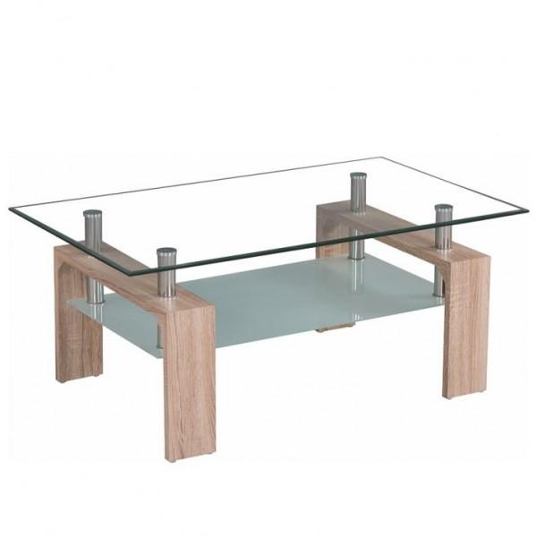 TEMPO KONDELA Konferenčný stolík, dub sonoma/sklo, LIBOR NEW