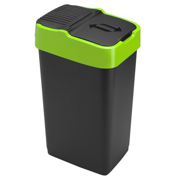 Heidrun Odpadkový kôš 35 l, čierny so zeleným pruhom , 35 l