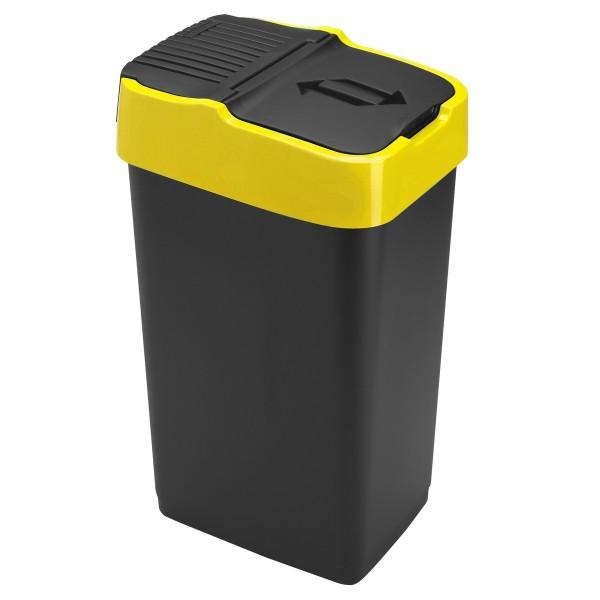 Heidrun Odpadkový kôš 35 l, čierny so žltým pruhom