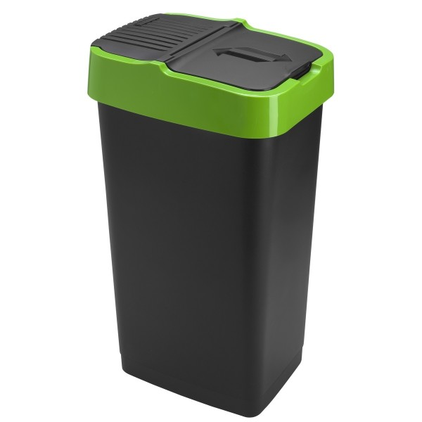 Heidrun Odpadkový kôš 60 l, čierny so zeleným pruhom , 60 l