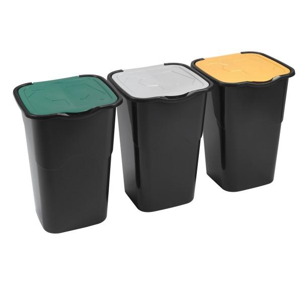 Heidrun Sada odpadkových košov 3x 50 l čierna
