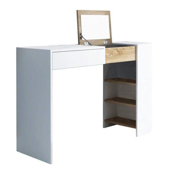 TEMPO KONDELA Toaletný stolík/písací stôl, biela/dub sonoma, ELIS