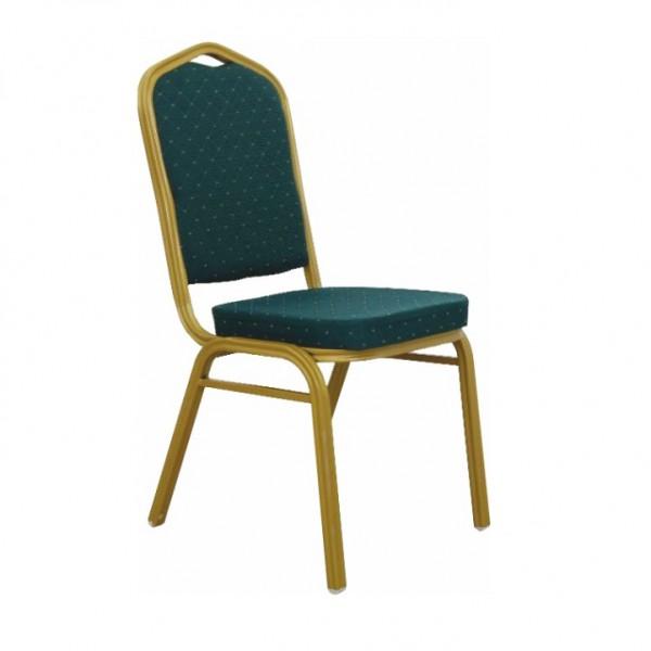 TEMPO KONDELA Stohovateľná stolička, zelená/matný zlatý rám, ZINA 2 NEW