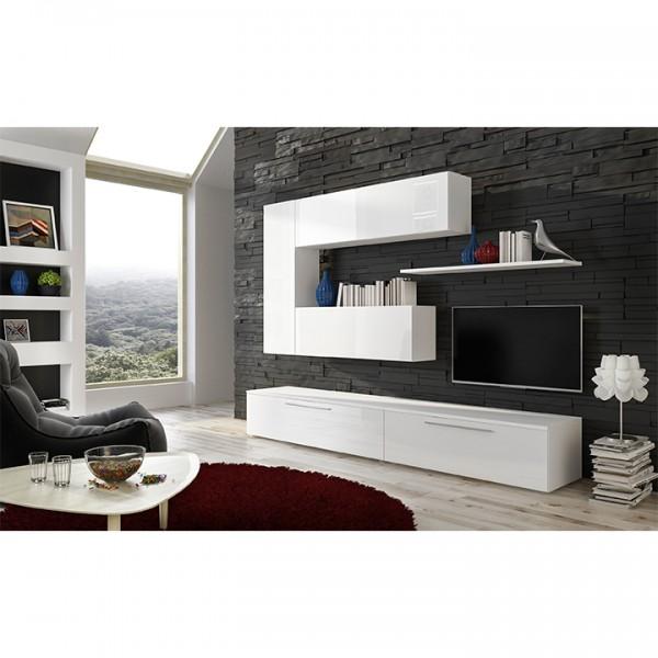 TEMPO KONDELA Obývacia stena, biela/biely extra vysoký lesk HG, ARIZONA