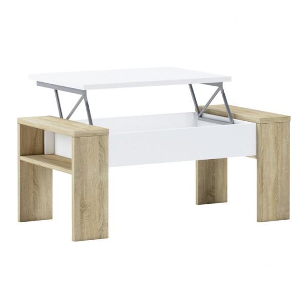TEMPO KONDELA Konferenčný stolík, dub sonoma/biela, PULA