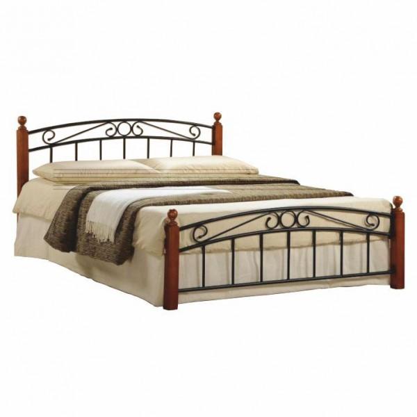 TEMPO KONDELA Manželská posteľ, čerešňa/čierny kov, 160x200, DOLORES