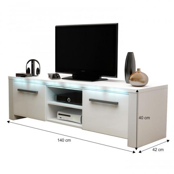 TEMPO KONDELA TV stolík, biela/biely extra vysoký lesk, MANHAN