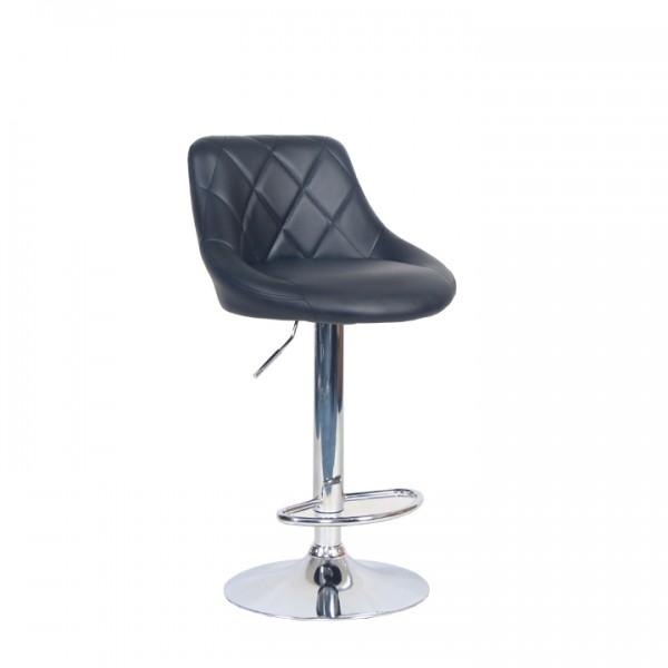 TEMPO KONDELA Barová stolička, čierna ekokoža/chrómová, MARID