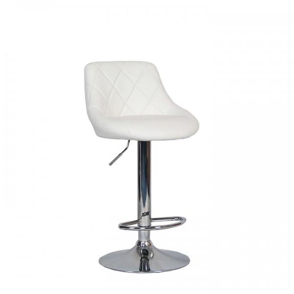 TEMPO KONDELA Barová stolička, biela ekokoža/chrómová, MARID