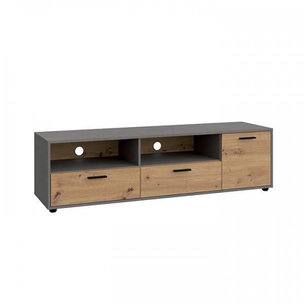 TEMPO KONDELA RTV asztal, tölgy artisan/smooth szürke, PARIDE 1D2S