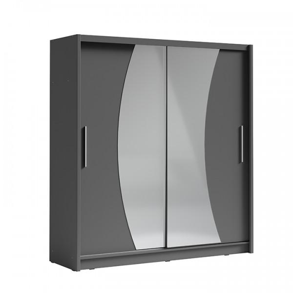 TEMPO KONDELA Skriňa s posúvacími dverami, tmavosivá grafit, BIRGAMO TYP 2