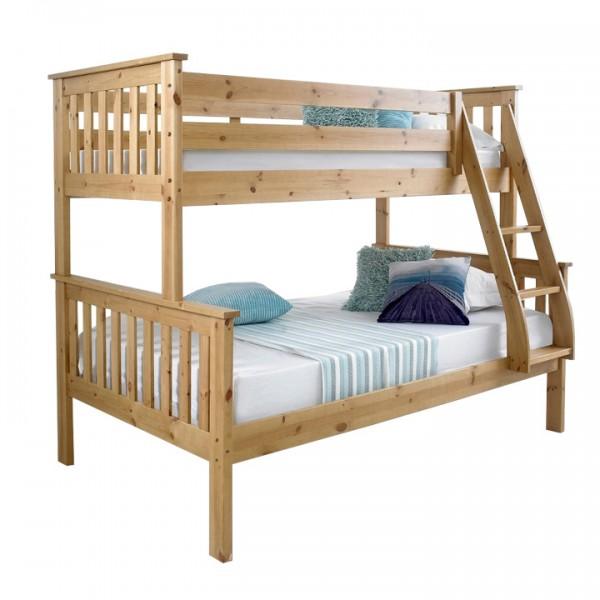 TEMPO KONDELA Poschodová rozložiteľná posteľ, prírodná borovica, LUINI