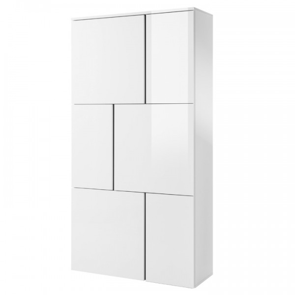 Komoda 5, biela/biely lesk/sivá, RADAL 6D