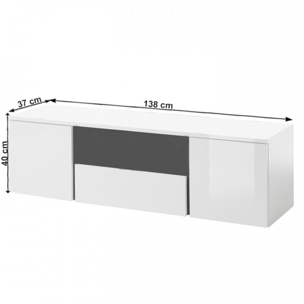 RTV stolík, biela/biely lesk/sivá, RADAL