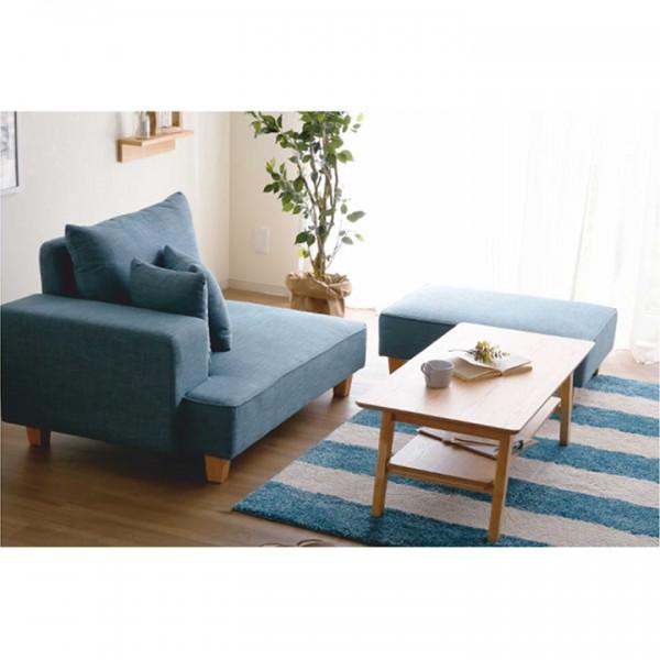 Leňoška s taburetom, modrá, ľavá, DURAN