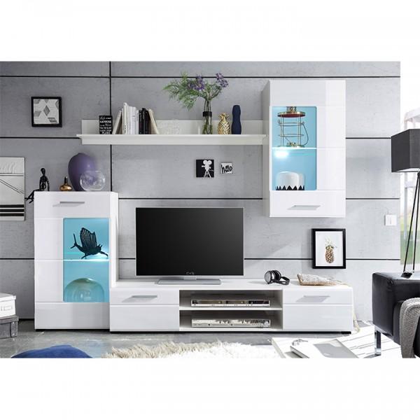 TEMPO KONDELA Obývacia stena, biela extra vysoký lesk high gloss/biela, HENRI NEW