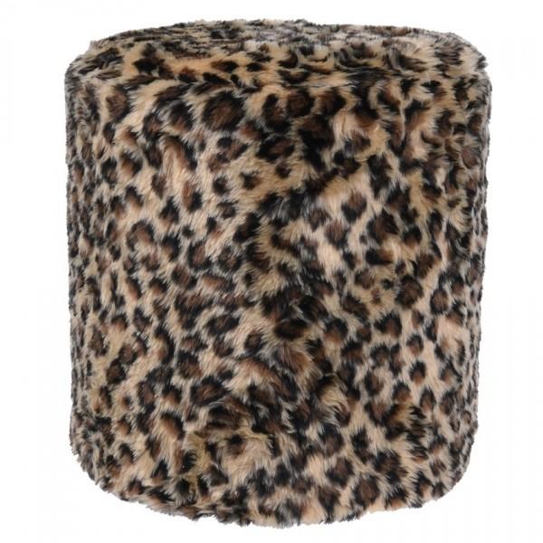 Koopman Taburet z umelej kožušiny Leopard, 31 x 34 cm