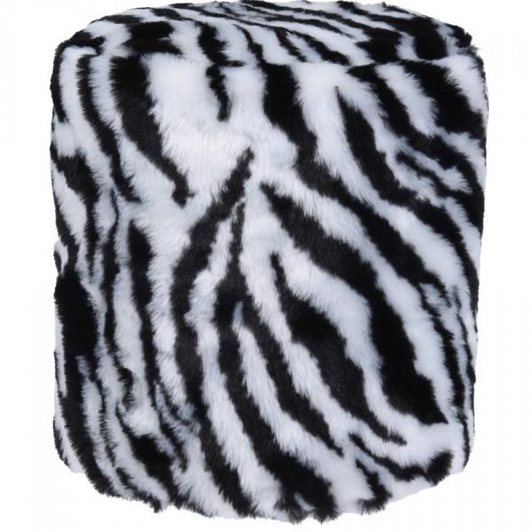Koopman Taburet z umelej kožušiny Zebra, 31 x 34 cm