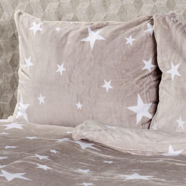 4Home obliečky mikroflanel Stars Grey, 140 x 220 cm, 70 x 90 cm