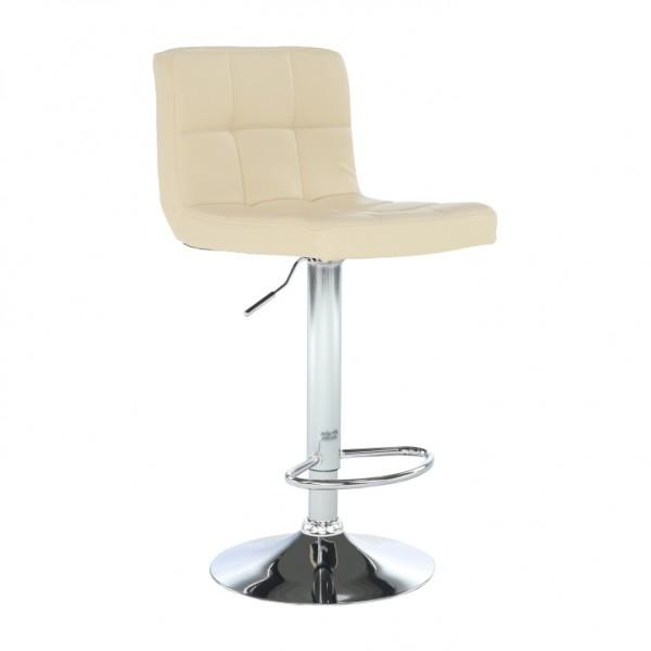 TEMPO KONDELA Barová stolička, béžová ekokoža/chróm, KANDY NEW