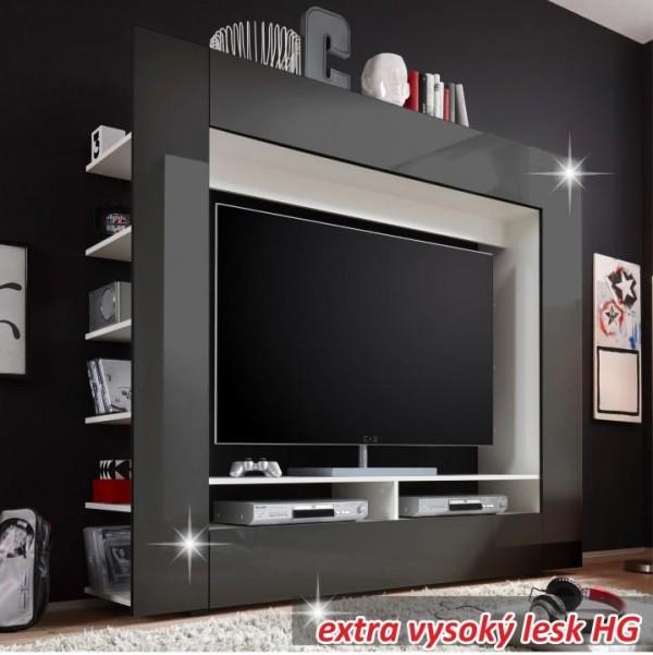TEMPO KONDELA Luxusná TV a media stena, čierna/extra vysoký lesk, MEDI TV