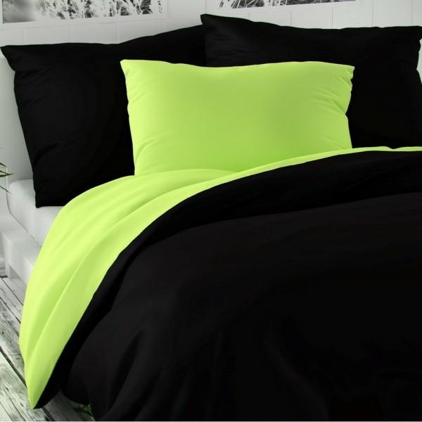 Kvalitex Saténové obliečky Luxury Collection čierna/svetlozelená, 200 x 200 cm, 2 ks 70 x 90 cm