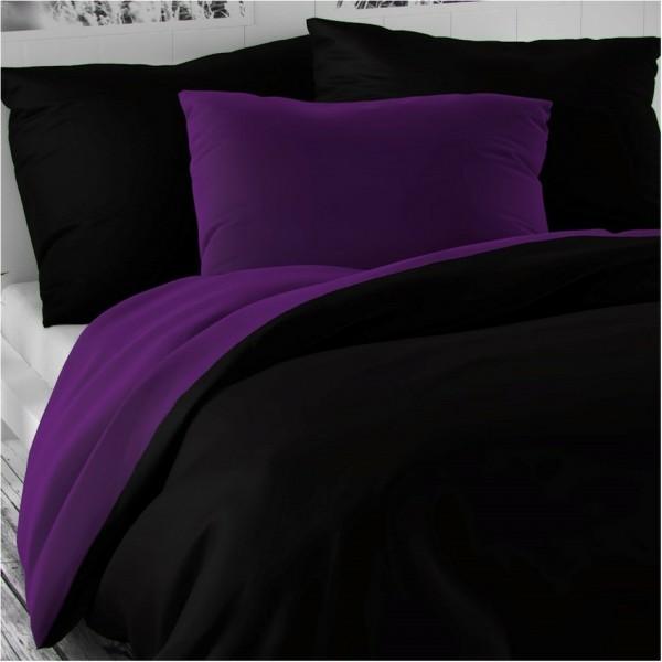 Kvalitex Saténové obliečky Luxury Collection čierna / tmavo fialová, 200 x 200 cm, 2 ks 70 x 90 cm