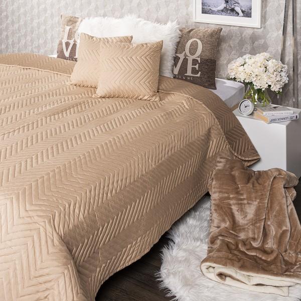 4Home Prehoz na posteľ Doubleface svetlohnedá/hnedá, 220 x 240 cm, 2 ks 40 x 40 cm