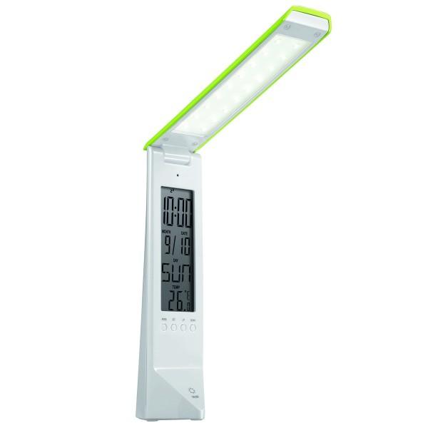 PANLUX DAISY multifunkčný stolná lampička s displejom, bielo / zelená PN15300002