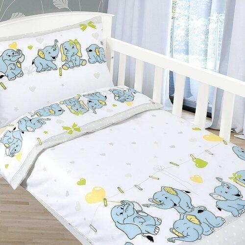 Bellatex Detské obliečky Agáta Sloníčatá, 90 x 135 cm, 45 x 60 cm
