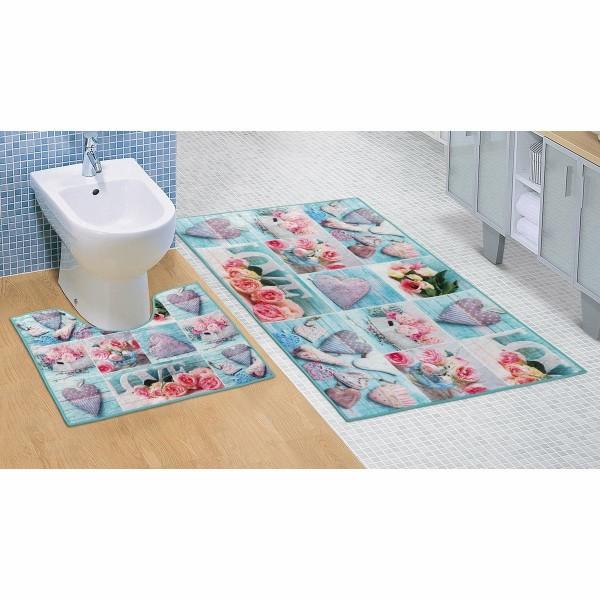 Bellatex Kúpeľňová sada 3D tlač Patchwork tyrkysová, 60 x 100 cm, 60 x 50 cm