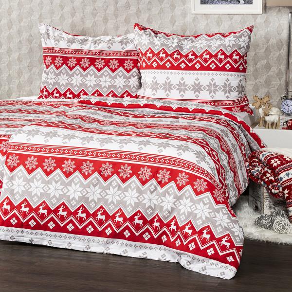 4Home Bavlnené obliečky Red Nordic, 140 x 200 cm, 70 x 90 cm