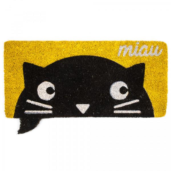 Trade Concept Kokosová rohožka Miau žltá, 43 x 73 cm