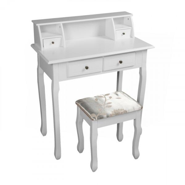 Toalený stolík/toaletka, biela, RODES NEW