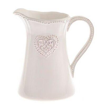 Keramický džbán Srdce 1150 ml, ružová