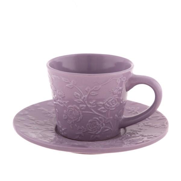 Keramická šálka s podšálkou fialová kvetina 220 ml