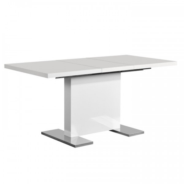 Rozkladací jedálenský stôl, biela vysoký lesk HG, IRAKOL