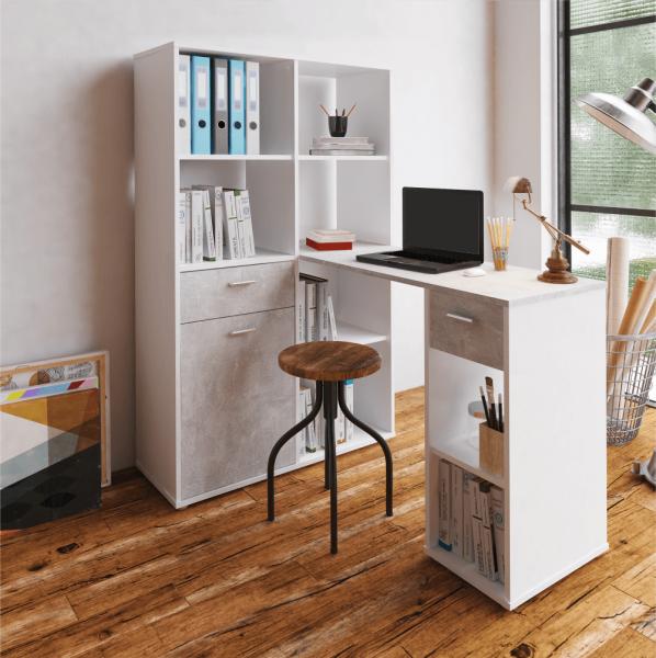 PC stôl s regálom, biela/betón, MINESON