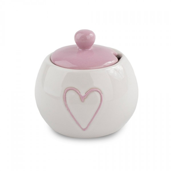 Keramická cukornička Heart, ružová